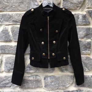 Forever 21 Black Velvet Military Style Jacket